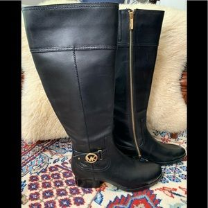 Michael Kors Harland Black Leather Riding boots 7